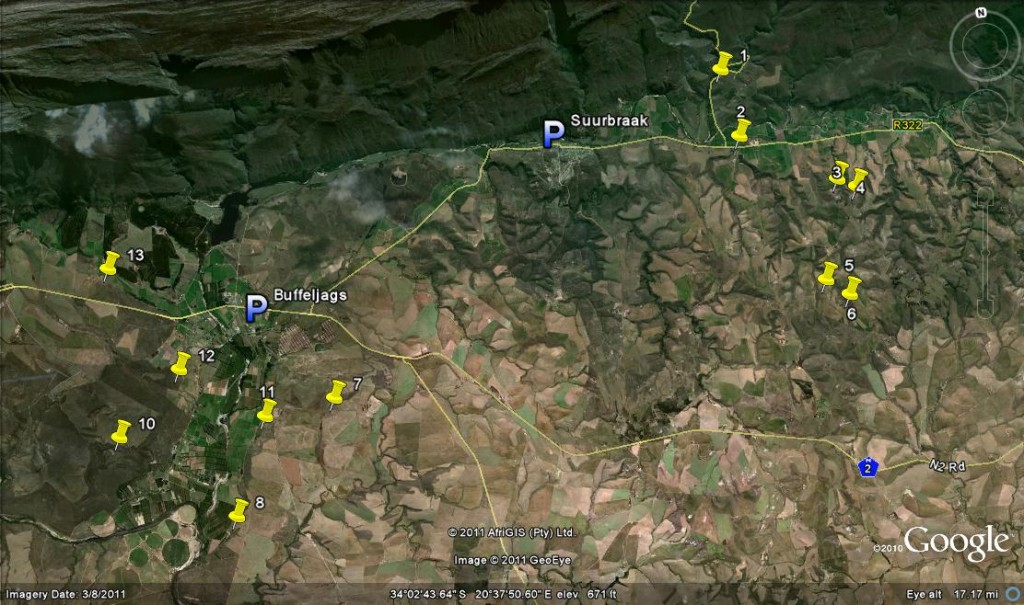 Map - east of Swellendam
